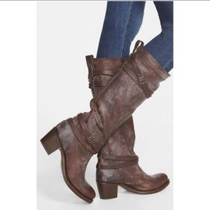 Frye Jane Strappy Tall Boots Leather Brown Sz 6.5